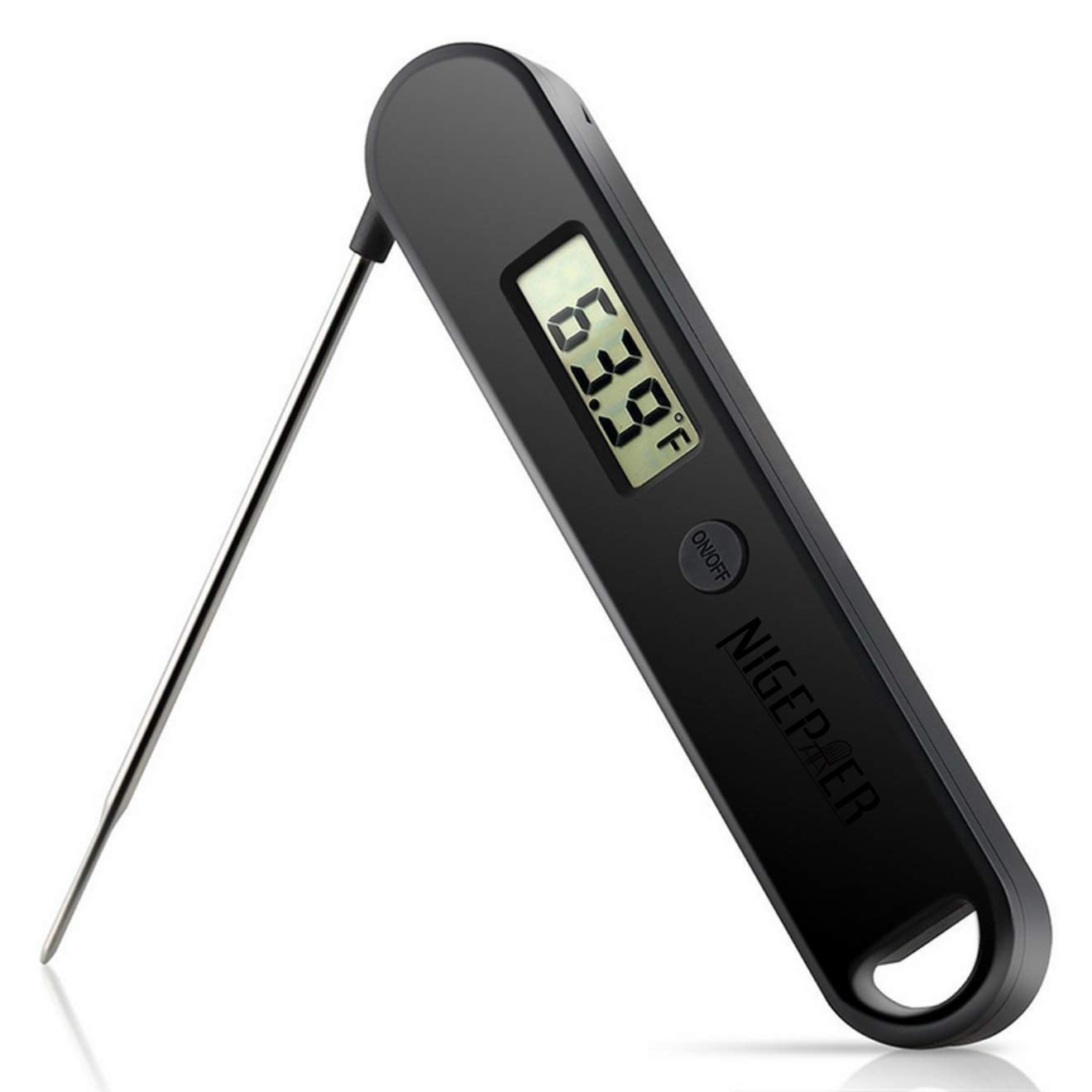 NIGEPER Meat Thermometer Cooking Thermometer Ultra Fast Digital Thermometer,Best Waterproof,Calibration and Magnet,Backlight Super Long Probe for Kitchen Cooking(BLACK-2)