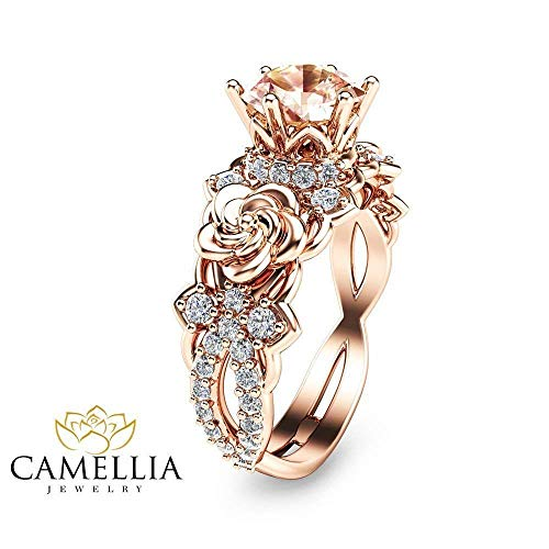 14K Rose Gold Morganite Ring Flower Wedding Ring Custom Ring with Natural Side Diamonds Nature Inspired