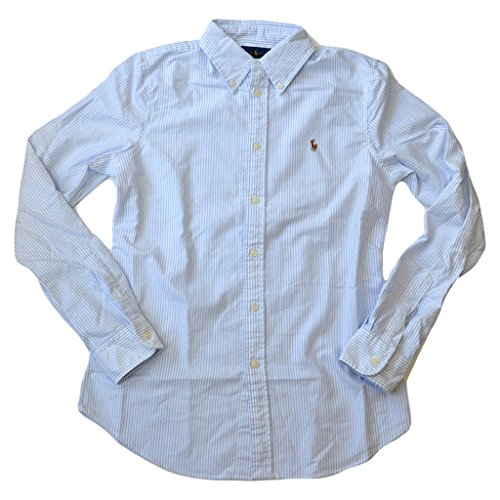 Polo Ralph Lauren Women's Custom Fit Oxford Button Down Shirt, Powder Blue, (Blue Striped Oxford Shirt)