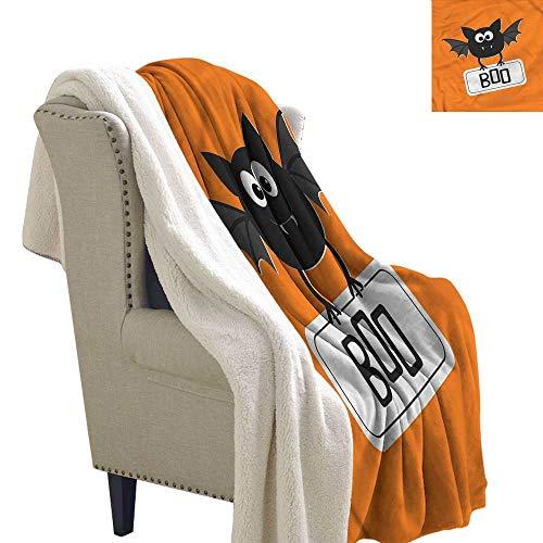Beihai1Sun Halloween Lightweight Blanket Cute Funny Bat with Plate Fluffy Blanket Throw 60x78 -