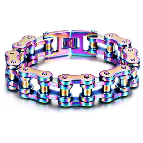 ZmKm Fashion Charm Men's Stainless Steel Rainbow Motorcyle Bike Chain (Bike Chain Bracelet)