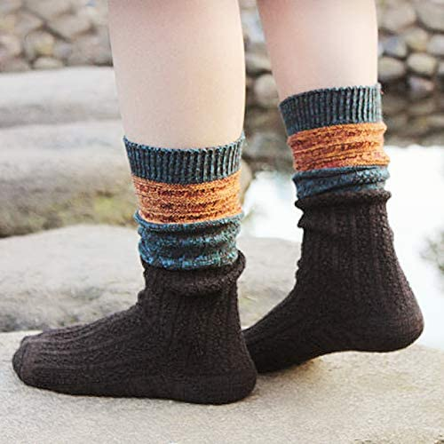 Details about  /5 Pairs Womens Crew Socks All Season Soft Slouch Knit Cotton Socks Solid Color,5