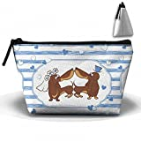 Dachshund Dog Wedding Couple Cosmetic Bags Portable Travel Toiletry Pouch Makeup Organizer Bag With Zipper