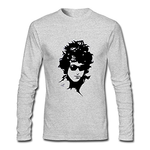 RUIFENG Men's Bob Dylan Long Sleeve T-shirt Size XL Heather Gray