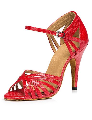 La mode moderne Non Sandales femmes personnalisables en cuir chaussures de danse salsa latino/HeelPractice Stiletto talons/Débutant/Professionnel/Intérieur Intérieur /,rouge,US8/EU39/UK6/CN39