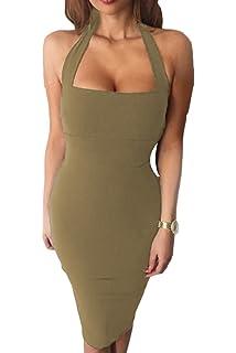 bedbea5d4b2 Prograce Women s Sexy Halter Strapless Bandage Evening Party Bodycon Dress
