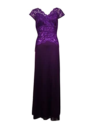 78a8050635a Amazon.com  ONYX Nite Women s Glittered Sequined Lace Chiffon Dress ...