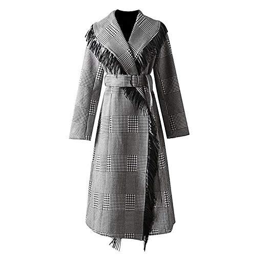 Women Coat Plaid Tassel Spliced Double Faced Wool Coat Long Sleeve Lace Up Woolen Overcoat,Black,M Double Faced Wool Fabric