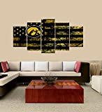 [LARGE] Premium Quality Canvas Printed Wall Art Poster 5 Pieces / 5 Pannel Wall Decor Iowa Hawkeyes logo Painting, Home Decor Football Sport Pictures- Stretched