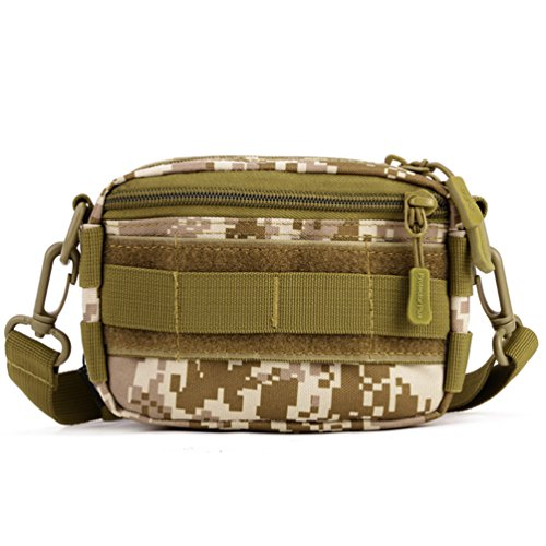 Protector Plus Tactical Pouches Utility MOLLE Duffel Bags Outdoor Casual Messenger Bag Military Waist Belt Pack (Desert Camo)