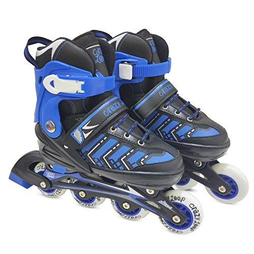 Adjustable Rollerblades (4M - 6M) for Kids Women Men Adult Boys Girls-Inline Roller Skate Black-Pink or Black-Blue. Fitness Performance Inline Blades Skates. Patines/Rollers para Hombre o Mujer