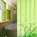 textile rideau de douche herbes DESIGN 240x180 cm bagues inclue vert clair 240 x 180!