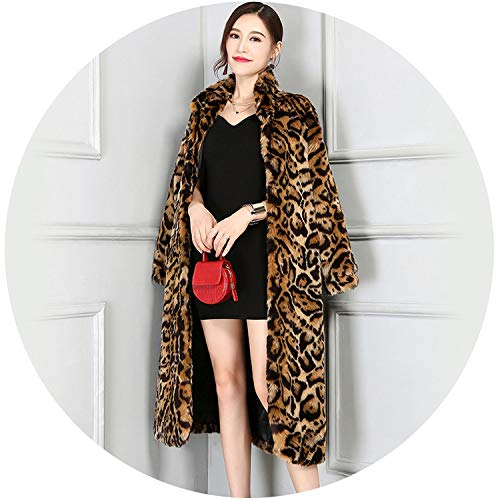 loveinfinite Fashion X-Long Faux Fur Leopard Coat Women for sale  Delivered anywhere in USA