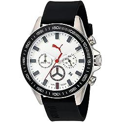 PUMA Men's Quartz Stainless Steel and Polyurethane Automatic Watch, Color:Black (Model: PU103621004)