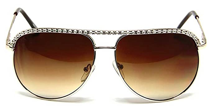 66eae5dd56c Emblem Eyewear Gold Rhinestone Trimmed Aviator Sunglasses  Amazon.co ...