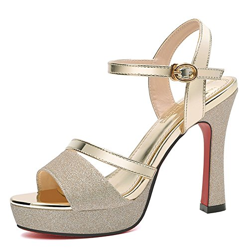 Sandals Women's Shoes PU Summer Fall Comfort Novelty Stiletto Heel Peep Toe Buckle for Wedding Party & Evening Stylish/comfortable (Color : Silver, Size : EU39/UK6/CN39) Gold