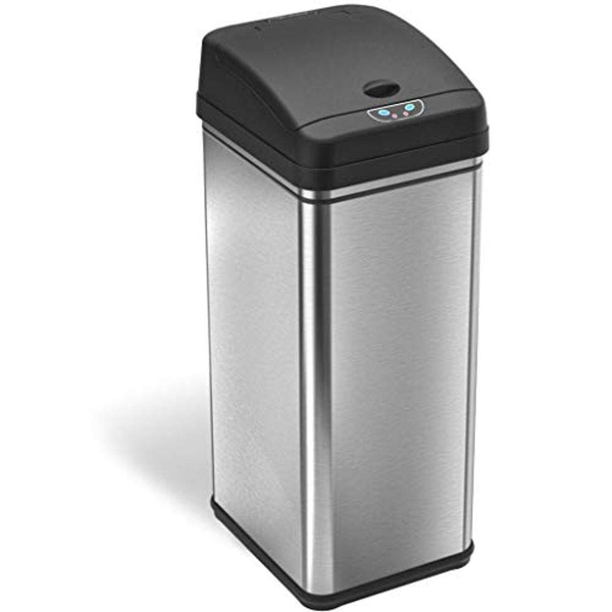 iTouchless 13 Gallon Pet-Proof Sensor Trash Can with AbsorbX Odor Filter Kitchen Garbage Bin Prevents Dogs & Cats Getting in, Battery and AC Adapter (Not Included)