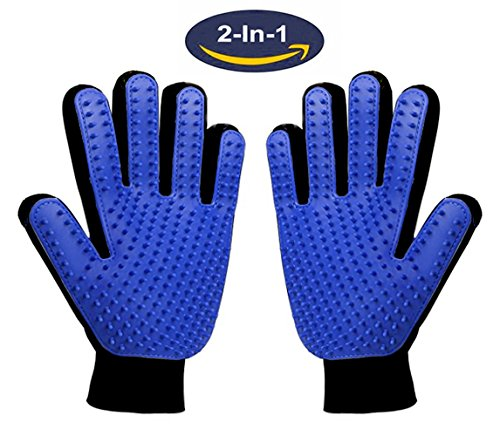Pet Grooming Glove,Gentle Deshedding Brush Glove Hair Remover Brush for Dogs,Cats & Horses with Long & Short Fur,Enhanced Five Finger Design -One Pair Left & Right from Dooki-Be