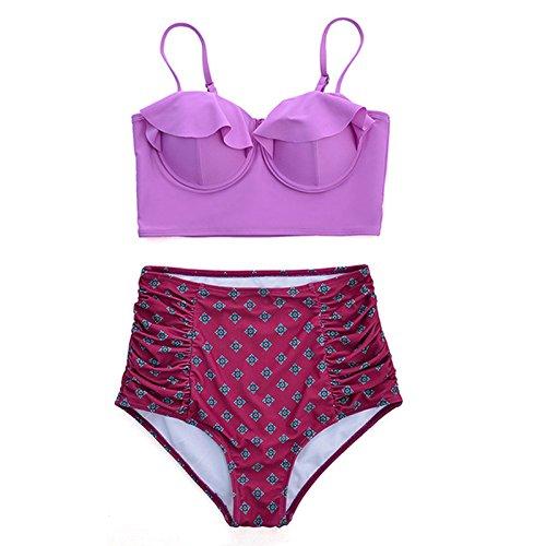Macxy vita alta bikini costume da bagno delle donne spingono verso l'alto lo Swimwear sexy del bikini femminile serie Beach usura vecchio costume da bagno retr
