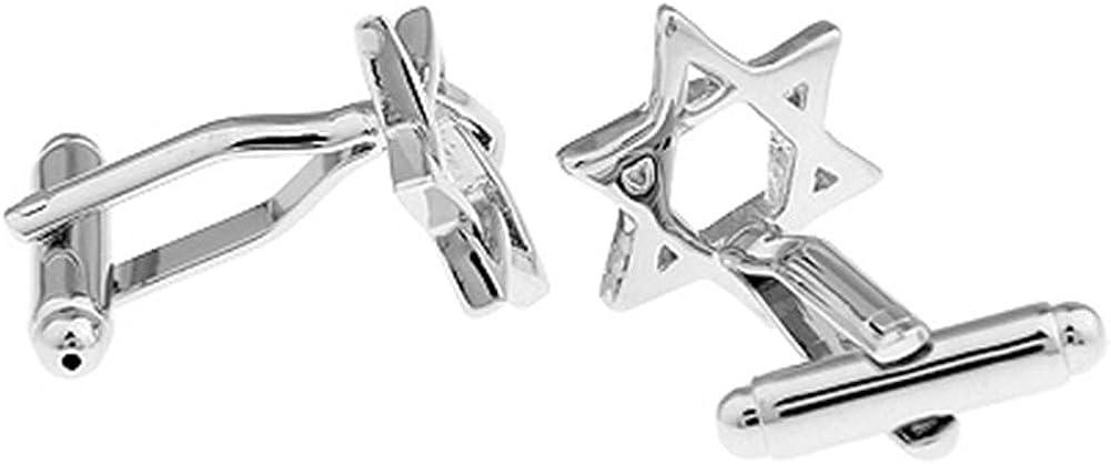 Star of David Pair Silver Cufflinks