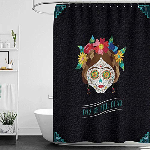 homecoco Shower Curtains red/Yellow Day of The Dead,Hispanic Holiday La Calavera de la Catrina Inspired Hairstyle and Make Up,Multicolor W72 x L84,Shower Curtain for Shower stall]()