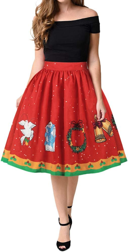 Goddessvan - Falda de Navidad para Mujer, diseño de muñeco de ...