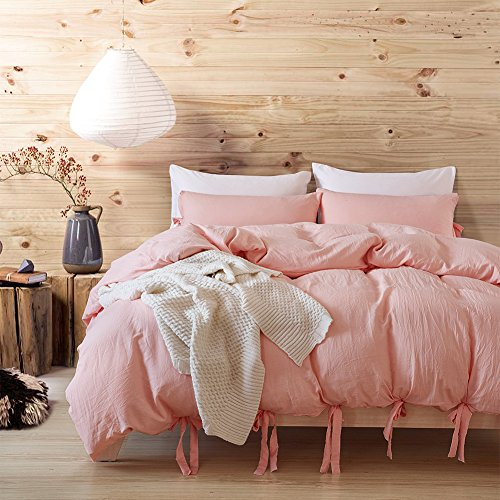 UNAOIWN Microfiber Duvet Cover Set 3 Pieces Comforter Washed Cotton Cover With Frenulum Ultra Soft and Easy Care, Simple Style Bedding Set (Twin, Jade Pink) (It Duvet Covers What Means)