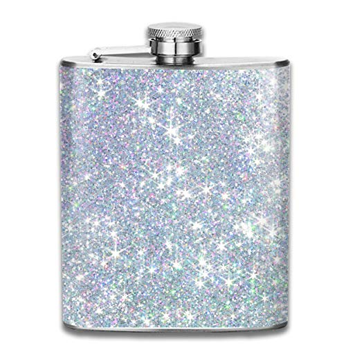 Men and Women Thick Stainless Steel Hip Flask Outdoor Mini Portable Silver White Shimmer Sequin Portable Adult Pocket Flagon Whiskey Container Flask Pocket 7 Oz 304 Thick for Unisex ()