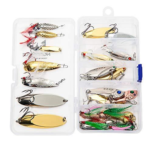 Nordtale Fishing Spoons Set Fishing Lures Metal Spoons Hard Baits 20PCS Metal Fishing Lures Spinner Baits Treble Hooks Tackle Bass