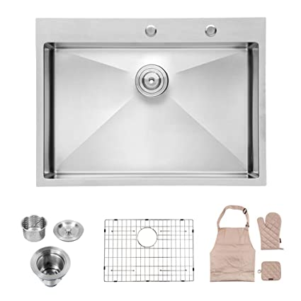 Lordear 30 Inch Drop-in Topmount 16 Gauge R10 Tight Radius Stainless Steel  Kitchen Sink Single Bowl