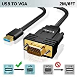 USB to VGA Adapter Cable with Built-in Driver 6FT,USB 3.0 to VGA Video Converter Cord 1080P for HP,Lenovo,PC,Laptop,Surface to TV,Monitor,Projector,Only Support Windows 10/8.1/8/7(NO XP/Mac OS/Vista)