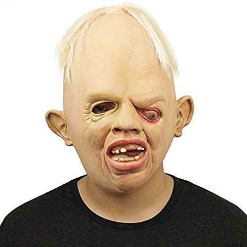 Halloween latex horror bloody headgear Latex Creepy Scary Halloween Toothy Zombie Ghost Mask Scary Emulsion Skin with (Deformed Zombie Mask)