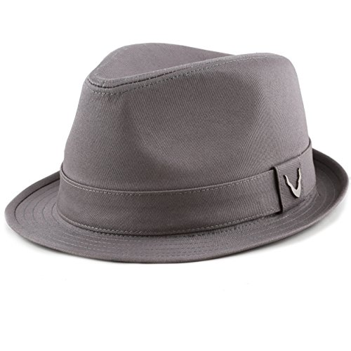 THE HAT DEPOT Black Horn Unisex Cotton Wool Blend Herringbone Trilby Fedora Hats (Medium, Cotton- Charcoal) - Herringbone Fedora
