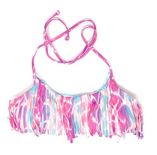 Victoria's Secret Pink Bikini Top Medium Purple Aqua Coral Fringe ()