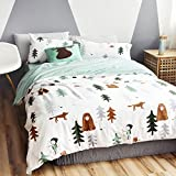 LELVA Kids Bedding for Boys and Girls Baby Bedding Cotton Children's Duvet Cover Cartoon Forest Print Bedding 3 Piece (Twin Flat Sheet Set, A)