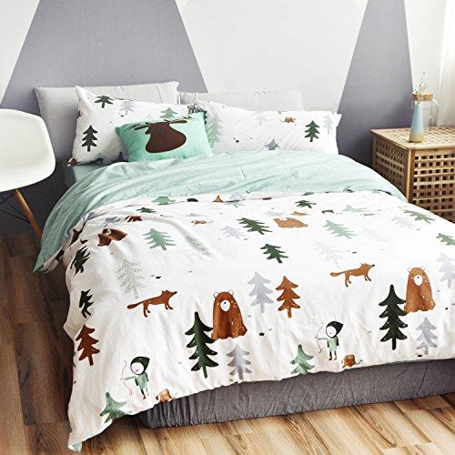 - HNNSI Cotton Kids Duvet Cover Sets, Cute Fox Bear Tree Children Teens Bedding Sets, Comforter/Quilt Cover with Mint Green Sheet,2 Pillow Shams (Flat Sheet Set, Full)