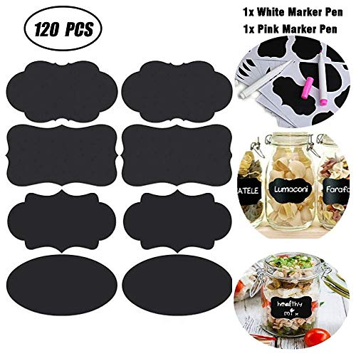 Premium 120 Removable Stickers Reusable Chalkboard Labels with Two Chalkboard Marker Pen(White and Pink) for Essential Oil Food Jars Glass Bottles Kitchen Storage Containers Pantry Storage & Office