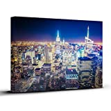 New York City Night Canvas Print. 12 X 16 inch stretched canvas frame featuring the Empire State Building and One World Trade Center. The perfect fine art addition to your home or office decor Picture