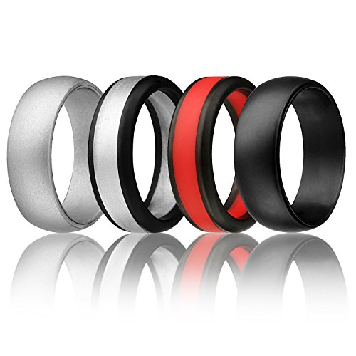Silicone Wedding Ring For Men By SOLEED Rings (Power X Series), 4 Pack Silicone Rubber Wedding Band, Black, Red, Silver - size - Black Silver Red
