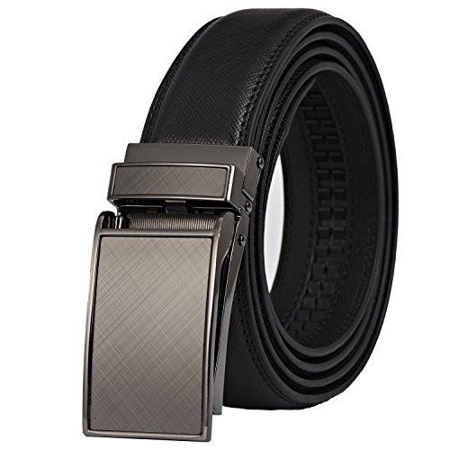 Dante men's Ratchet Click Slide Dress Belt with Genuine Leather,Trim to (Leather Mens Slides)