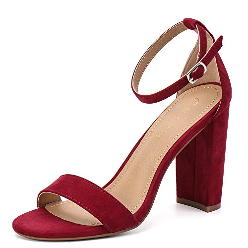 Moda Chics Women's High Chunky Block Heel Pump Dress Sandals Burgundy MF 8.5 D(M) US