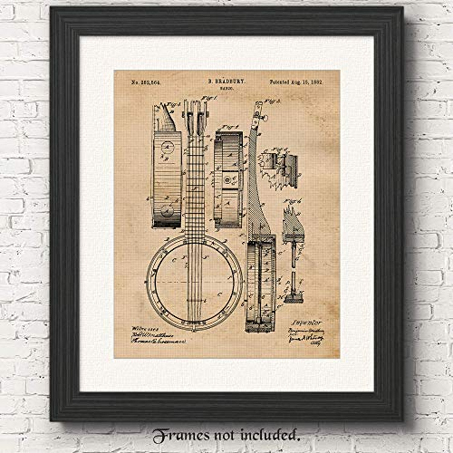 - Original Banjo Patent Poster Print- Set of 1 (One 11x14) Unframed Picture- Great Wall Art Decor Gifts Under $15 for Home, Office, Garage, Man Cave, Teacher, Musician, Country-Bluegrass Music Fan