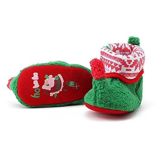 Itaar Botas para Bebé Primera Navidad Diseño de Duende Primeros Pasos Botas para Niños y Niñas verde