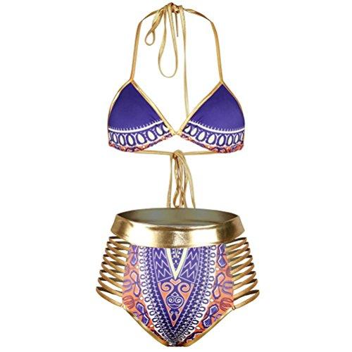 Jimmackey Ropa de playa trajes de baño Bikini africano de mujeres Púrpura