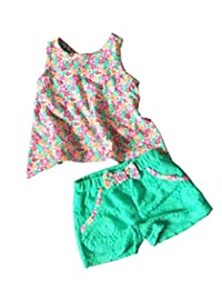 eKooBee 2pcs Baby Little Girls Outfits Animal Floral Cotton Top Short Pant Set