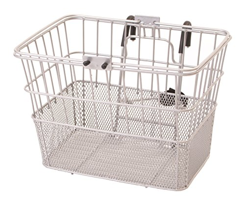 Silver Cruiser Bike - Retrospec Bicycles Detachable Steel Half-Mesh Apollo Bike Basket with Handles, Silver