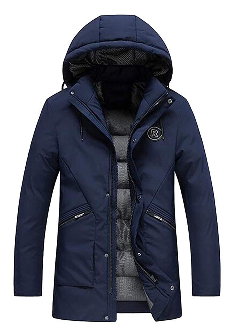 Fensajomon Mens Slim Warm Hooded Winter Thicker Down Quilted Jacket Coat Parka