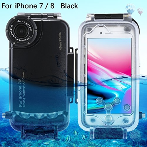 HAWEEL iPhone 7/ 8 Underwater Housing Professional [40m/ 130ft] Diving Case for Surfing Swimming Snorkeling Photo Video No Reflection + Lanyard(iPhone 7/ 8, Black)