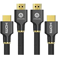 HDMI Cable 6ft (2-Pack) - Atevon High Speed HDMI 2.0 Cable 18Gbps [Supports 4K HDR, 3D, 2160P, 1080P, Ethernet] - 28AWG Braided HDMI Cord - Audio Return for TV, Monitor, Blu-ray Player, HDMI Switcher