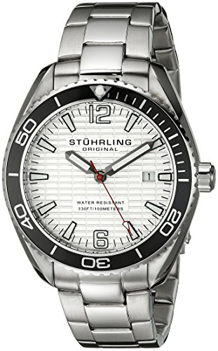 Stuhrling Original Men's 515.01 Aquadiver Regatta Endeavor Swiss Quartz Date Stainless Steel Bracelet Watch (Tonneau White Bracelet)